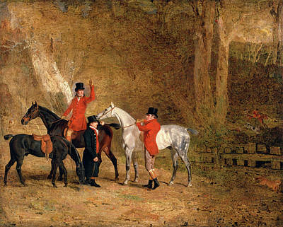 Foxhunting Scene Fox Hunting Two Gentlemen With A Groom Poster