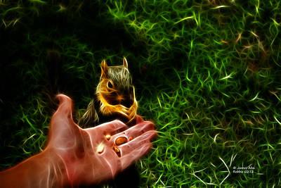 Poster featuring the digital art Fractal - Feeding My Friend - Robbie The Squirrel by James Ahn