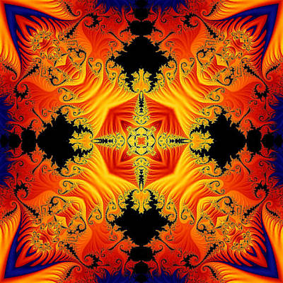 Poster featuring the digital art Fractal Flames No 1 by Charmaine Zoe