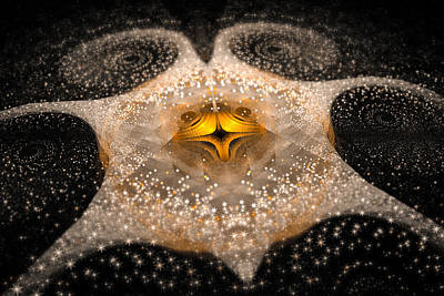 Fractal Galaxy With Sparkling Stars Gold And White Poster by Matthias Hauser
