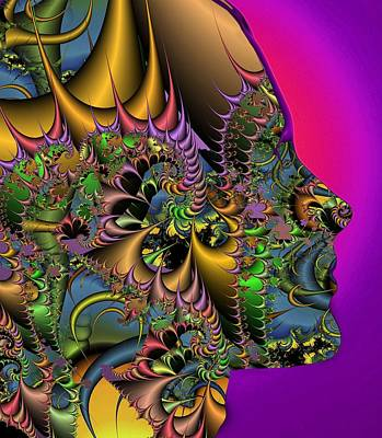 Fractal Pattern And Human Face Poster