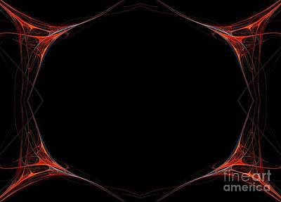 Poster featuring the digital art Fractal Red Frame by Henrik Lehnerer