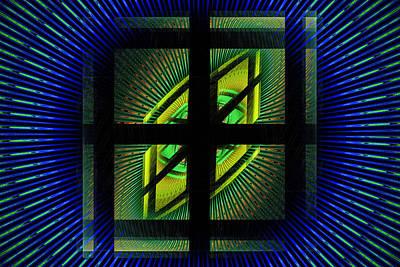 Fractal Squares And Vortex Pattern Poster