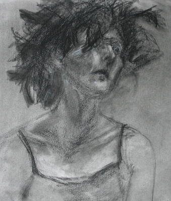Gathering Strength - Original Charcoal Drawing - Contemporary Impressionist Art Poster by Quin Sweetman