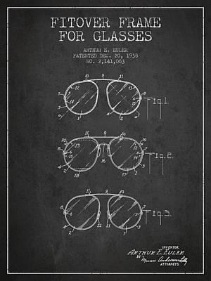 Frame For Glasses Patent From 1938 - Dark Poster