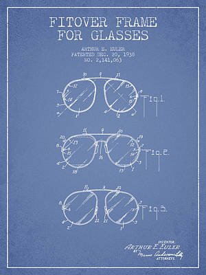 Frame For Glasses Patent From 1938 - Light Blue Poster