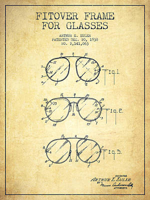 Frame For Glasses Patent From 1938 - Vintage Poster