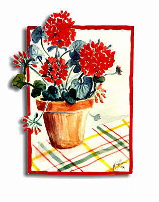 Framed Geranium Poster by Marilyn Smith