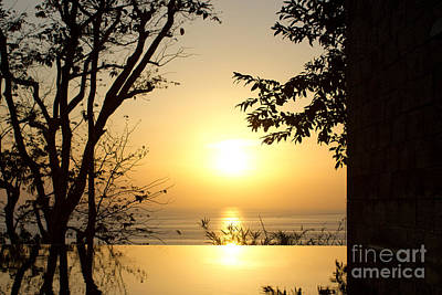 Framed Golden Sunset Poster by Kaye Menner