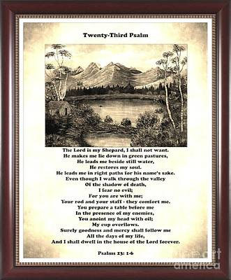 Framed Vintage 23rd Psalm Sepia Poster by Barbara Griffin