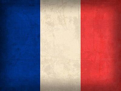 France Flag Distressed Vintage Finish Poster