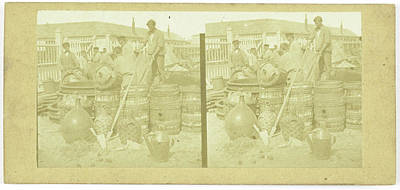 France, Men With Drums And Carboys, Anonymous Poster