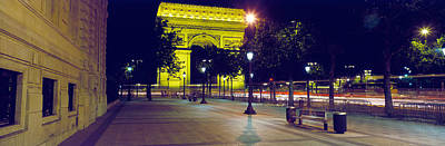 France, Paris, Arc De Triomphe, Night Poster by Panoramic Images