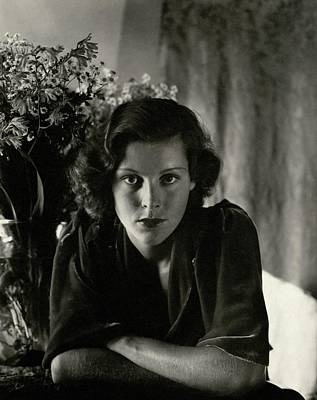 Frances Dee With Flowers Poster by Imogen Cunningham