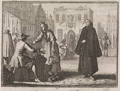 Francis A Jesu Sells Fruit On A Market, Caspar Luyken Poster