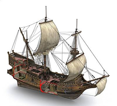Francis Drake's Golden Hind, 16th Century Poster