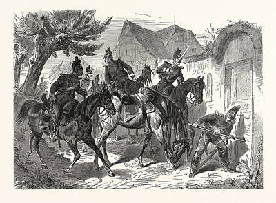 Franco-prussian War Bavarian Cavalry Patrol In A French Poster by French School