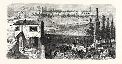Franco-prussian War View Of The Soap Factory In Le Bourget Poster