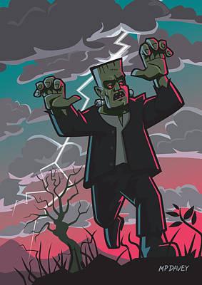 Frankenstein Creature In Storm  Poster by Martin Davey