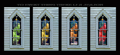 Frankford Church Window In Four Seasons Poster by Robert J Sadler