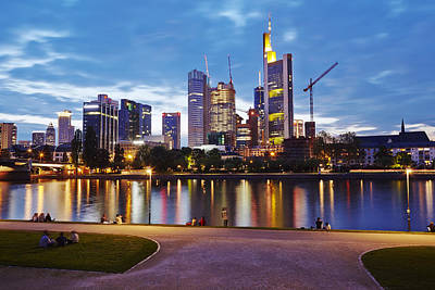 Frankfurt - Skyline In The Evening Poster by Olaf Schulz