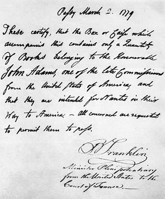 Franklin Letter, 1779 Poster by Granger