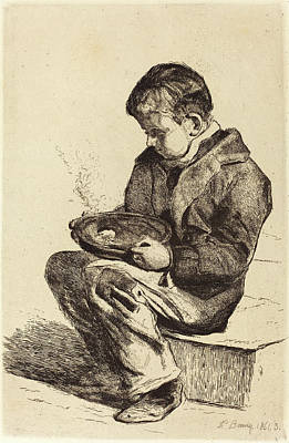 François Bonvin French, 1817 - 1887, Boy Eating Soup Poster