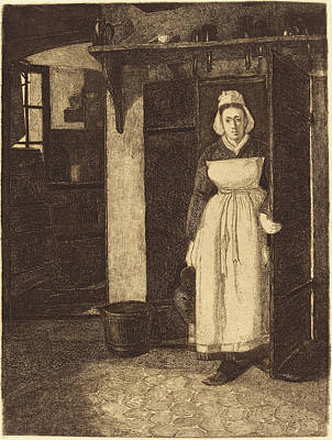 François Bonvin French, 1817 - 1887, The Basement Door La Poster