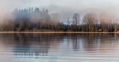 Fraser River Misty Morning Poster