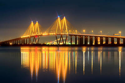 Fred Hartman Bridge At Night Poster by Tim Stanley