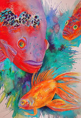 Poster featuring the painting Freddy Fish And Friends by Karen bertha Calderon