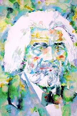Frederick Douglass - Watercolor Portrait Poster by Fabrizio Cassetta