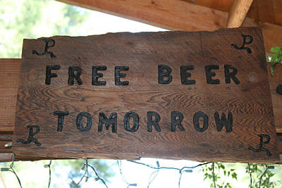 Free Beer Tomorrow Poster by Marsha Ingrao