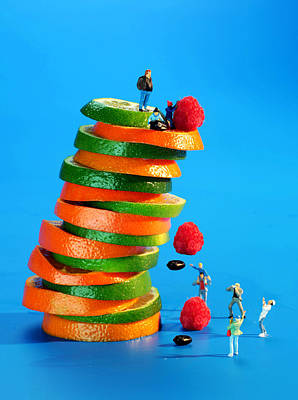 Free Falling Bodies Experiment On Fruit Tower Poster by Paul Ge
