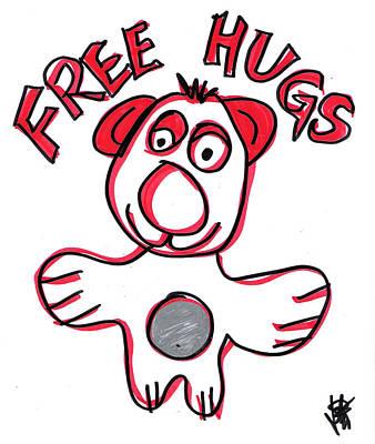Free Hugs Bear Poster