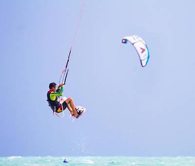 Freedom  Miami Beach Kitesurfing Poster by Mr Bennett Kent
