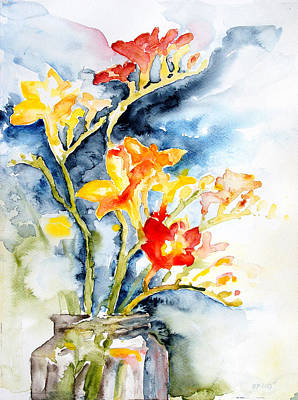 Freesia In A Pickle Jar Poster by Barbara Pommerenke