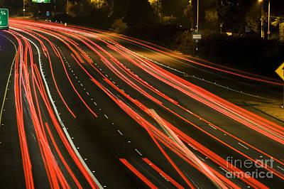 Freeway At Night 11 Poster by Micah May