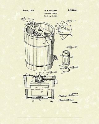 Freezer 1929 Patent Art Poster by Prior Art Design