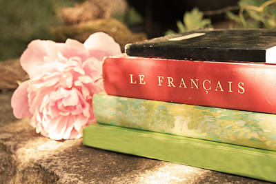 Poster featuring the photograph French Books And Peony by Brooke T Ryan
