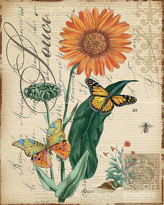 French Botanical-souci Poster