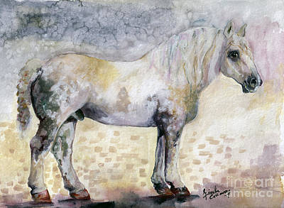 Poster featuring the painting French Breed Percheron Stallion by Ginette Callaway
