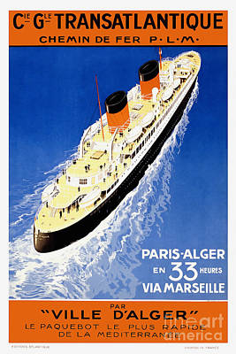 French Line Vintage Travel Poster Poster by Jon Neidert