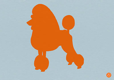French Poodle Orange Poster by Naxart Studio