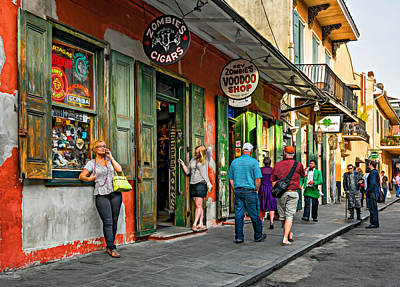 French Quarter - People Watching  Oil Poster