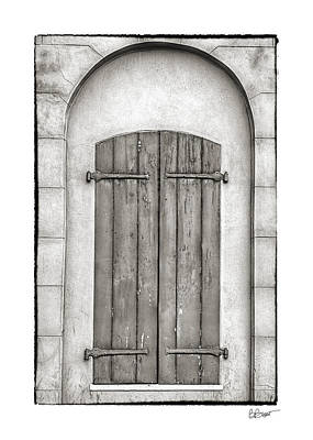 French Quarter Shutters In Black And White Poster