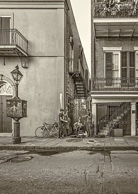 French Quarter Trio Sepia Poster