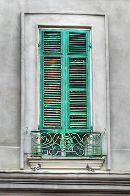 French Quarter Window In Green Poster by Brenda Bryant