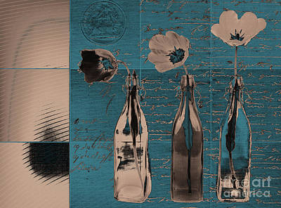 French Still Life  - A61 - Turquoise Poster by Variance Collections