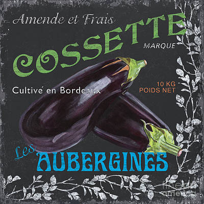 French Veggie Labels 4 Poster by Debbie DeWitt